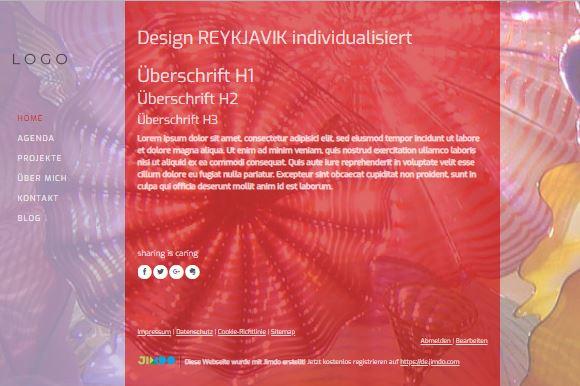 Jimdo Designvorlage REYKJAVIK
