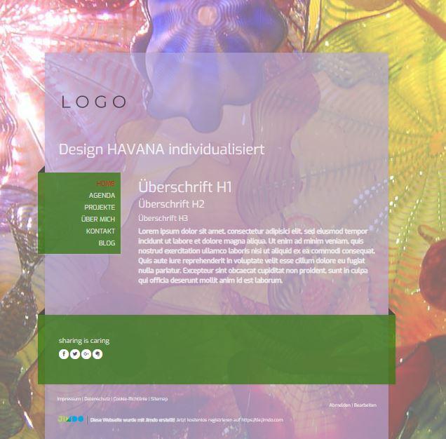 Jimdo Designvorlage HAVANA. Bei diesem Design kann der komplette Inhalt ausgerichtet werden (links, mittig oder rechts).