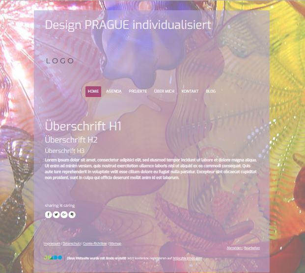 Jimdo Designvorlage PRAGUE. Bei diesem Design kann der komplette Inhalt ausgerichtet werden (links, mittig oder rechts). Zusätzlich kann der Abstand vom oberen Rand bis zum Logo angepasst werden.