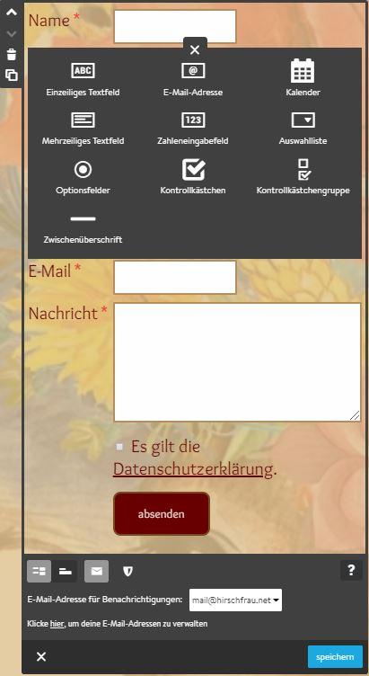 Screenshot Jimdo Creator Widget Formular
