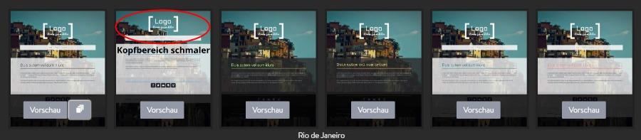 Jimdo Designvorlage Rio de Janeiro - Untervarianten