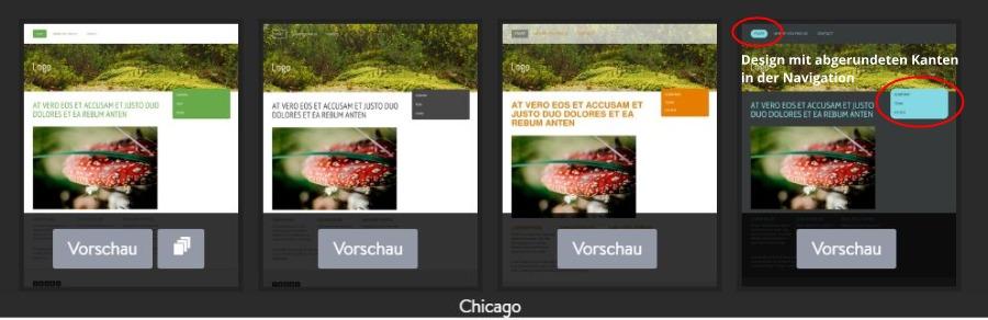 Jimdo Designvorlage Chicago - Untervarianten