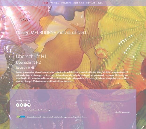 Jimdo Designvorlage MELBOURNE. Bei diesem Design kann der komplette Inhalt ausgerichtet werden (links, mittig oder rechts).