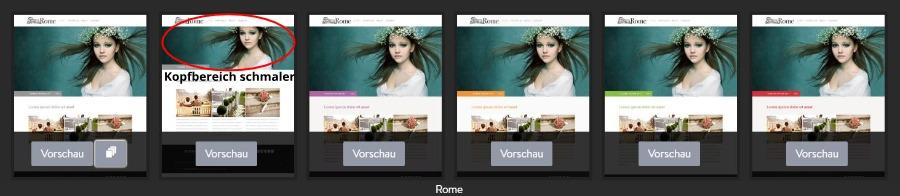 Jimdo Designvorlage Rome - Untervarianten