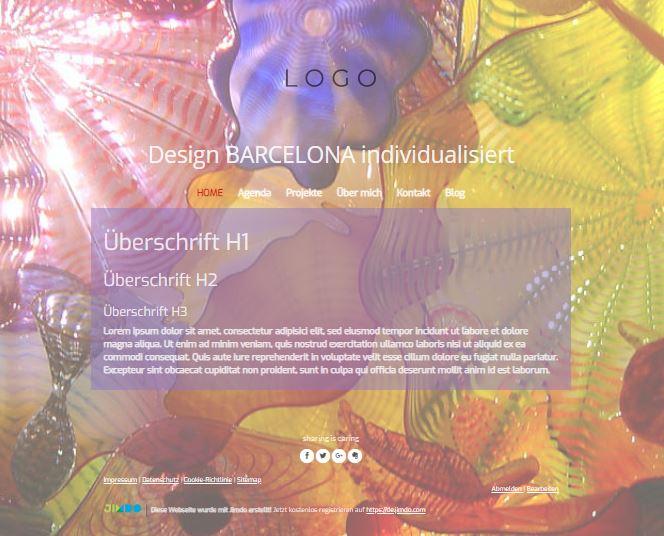 Jimdo Designvorlage BARCELONA. Bei diesem Design kann der komplette Inhalt ausgerichtet werden (links, mittig oder rechts).
