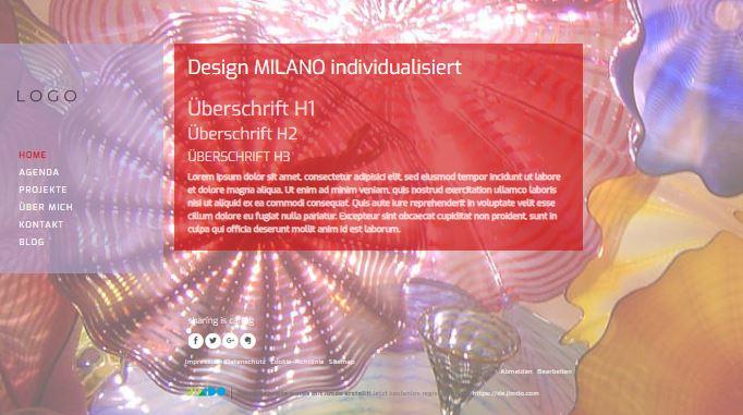 Jimdo Designvorlage MILANO. Bei diesem Design kann der komplette Inhalt ausgerichtet werden (links, mittig oder rechts).
