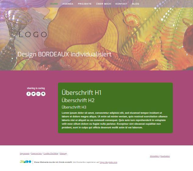 Jimdo Designvorlage BORDEAUX. Bei diesem Design kann der komplette Inhalt ausgerichtet werden (links, mittig oder rechts).