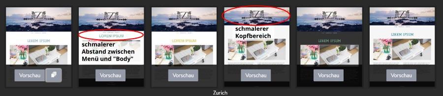 Jimdo Designvorlage Zurich - Untervarianten