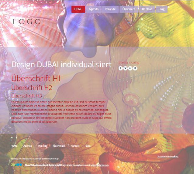 Jimdo Designvorlage DUBAI