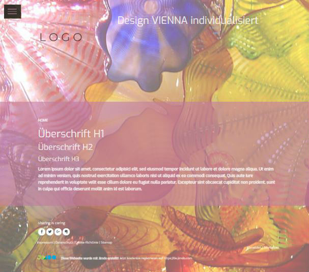 Jimdo Designvorlage VIENNA. Der schwarze Hintergrund im Menu kann farblich nicht angepasst werden.