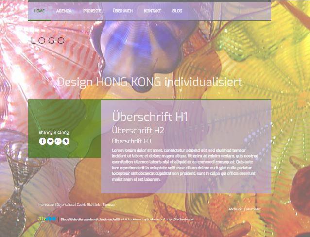 Jimdo Designvorlage HONG KONG. Bei diesem Design kann der komplette Inhalt ausgerichtet werden (links, mittig oder rechts). Die grauen Linien im Menü können nicht angepasst oder entfernt werden.