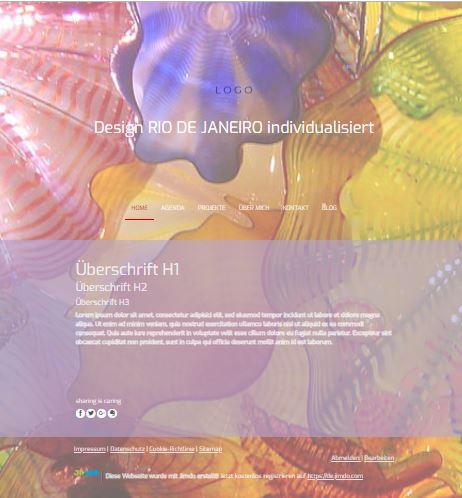 Jimdo Designvorlage RIO DE JANEIRO. Bei diesem Design kann der komplette Inhalt ausgerichtet werden (links, mittig oder rechts).