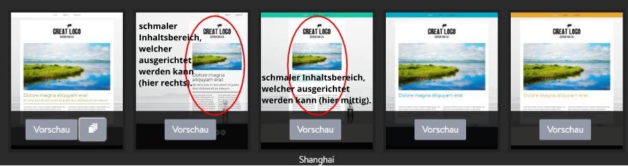 Jimdo Designvorlage Shanghai - Untervarianten
