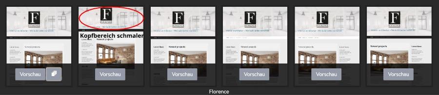 Jimdo Designvorlage Florence - Untervarianten