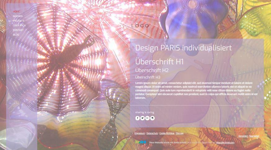 Jimdo Designvorlage PARIS. Die weisse Linie kann nicht angepasst oder entfernt werden.