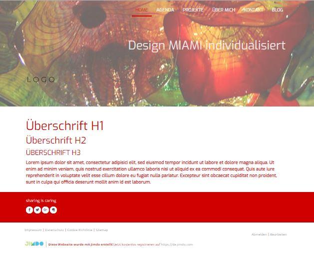 Jimdo Designvorlage MIAMI