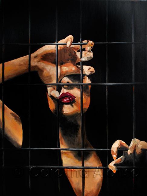 Hinter Gittern - Carolina Alonso, Öl auf Leinwand
