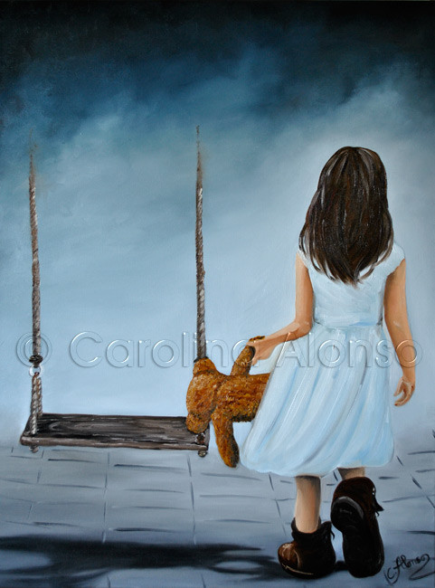 Spielplatz im Nebel (2014), Carolina Alonso, 80 x 60 cm, oil of canvas
