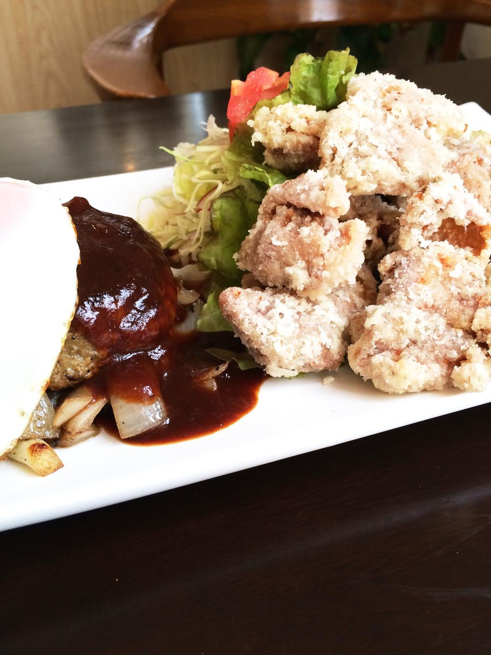 バーグと博多一番鶏から揚げセット