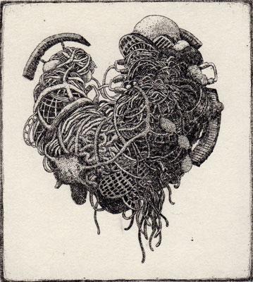 """""""Heart""""<br>エッチング、雁皮刷り<br>10.3×9.3cm/ED.15"""
