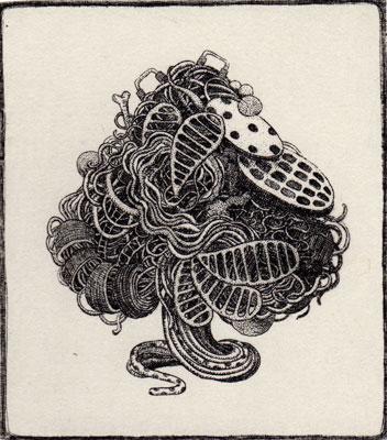 """""""Spade""""<br>エッチング、雁皮刷り<br>10.4×9.2cm/ED.15"""