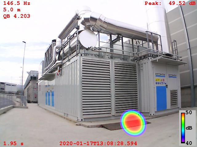 Impianto cogenerazione: ricerca emissione campi sonori con Acoustic Camera