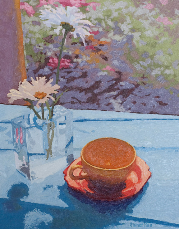 Three Daisies And A Cup Of Tea, 20x16, SOLD
