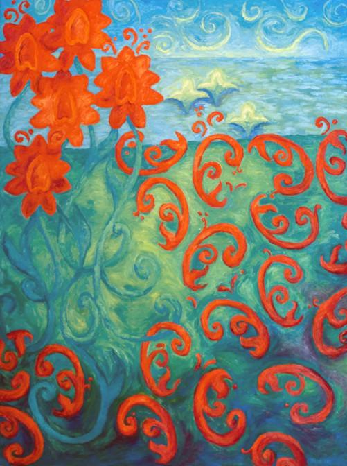 Coastal Flowers at Dusk, 48x36, SOLD