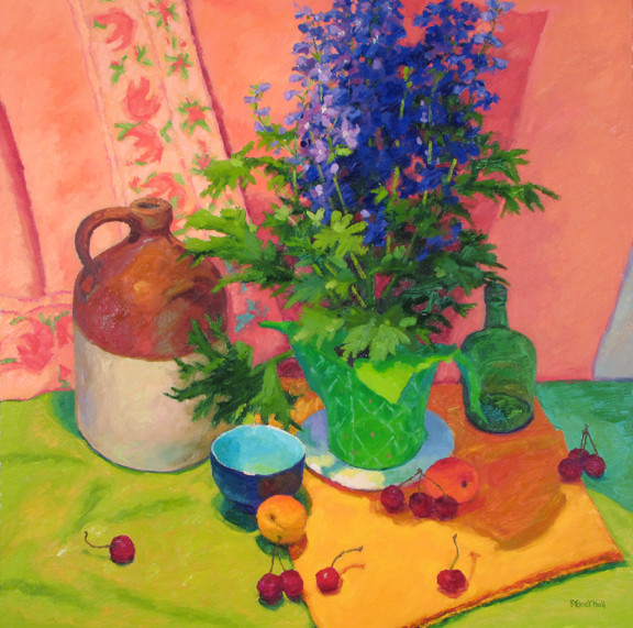 Arrangement With Delphinium, 30x30, SOLD