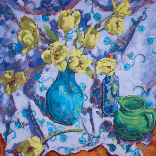 Chartreuse And Violet, 30x30, SOLD
