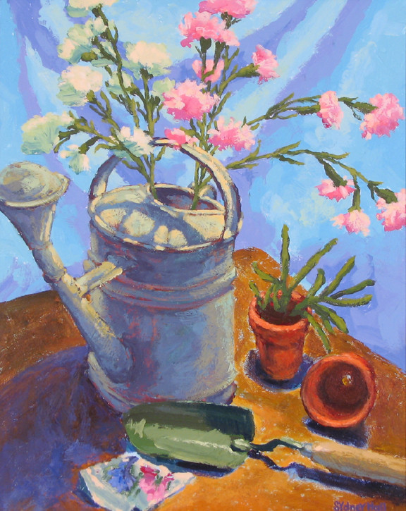 Carnation and Watering Can, 24x20, SOLD