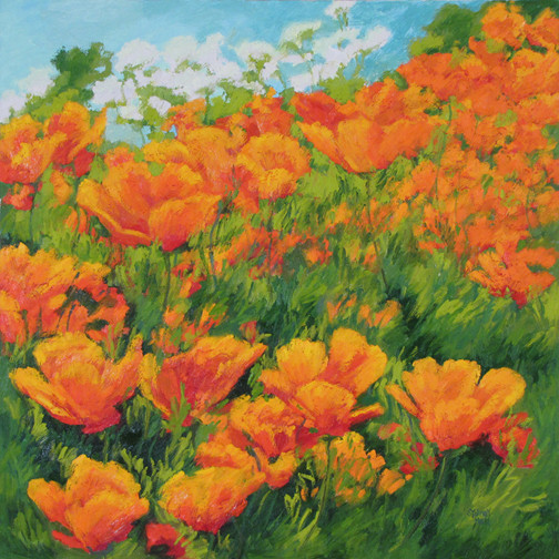 Poppy Profusion, 24x24, SOLD