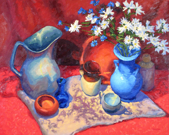 Still-life With Daisies, 24x30, SOLD