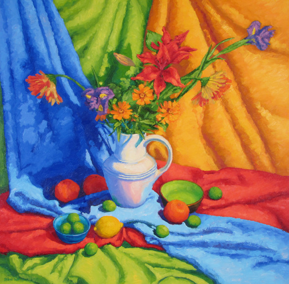 Arrangement With Drapery, 30x30, SOLD