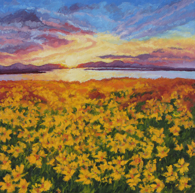 Carrizo Sunset, 18x18, SOLD
