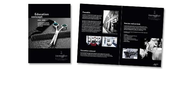 EDUCATION CONCEPT, Kunde Intercoiffure Mondial, Paris. Zur Promotion und Akquise von Seminarteilnehmern. Format DIN A4, 4-seitig, englisch