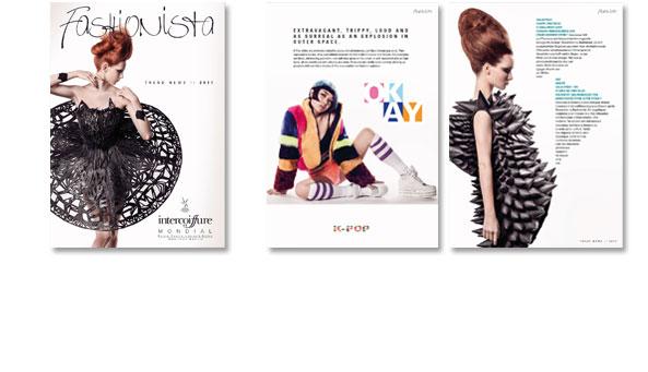 FASHIONISTA, Broschüre zur Kollektion, Kunde Intercoiffure Mondial, Paris. Präsentation im Web. Einzelseitendarstellung,Umfang 24 Seiten, 4-sprachig.