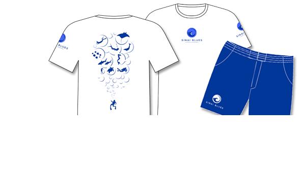 Kunde Sinai Blues Tauchcenter, Ägypten. Mitarbeiter-Ausstattung und Merchandising, Shirts/Shorts Herren mit Druck/Stick