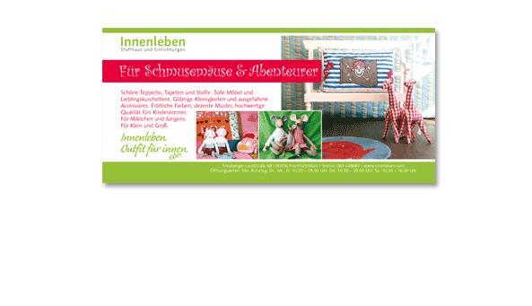 INNENLEBEN. Stoffhaus und Einrichtungen, Frankfurt. Insertion in 'Journal Frankfurt mit Kindern', Format 1/3 Seite quer