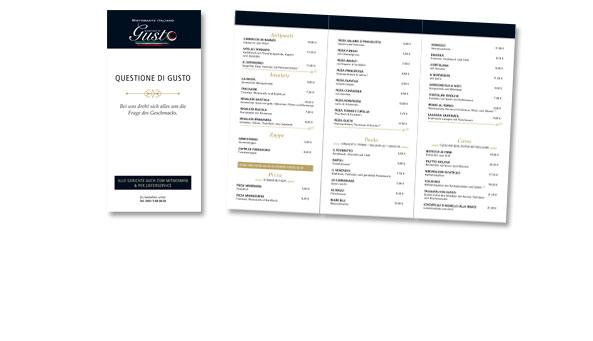 QUESTIONE DI GUSTO, Ristorante Italiano, Frankfurt. Folder DIN lang, 2x gefalzt. Inkl. Druckabwicklung