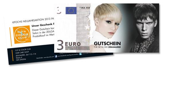 3 EURO GUTSCHEIN, KundeCut & Color Club, Zeilgalerie, Frankfurt. Format DIN A6 Langdin, 2-seitig