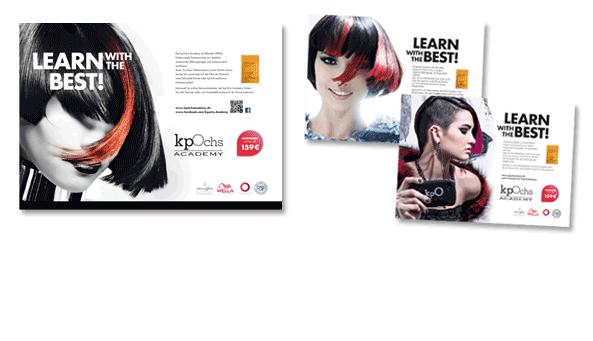 KLAUS PETER OCHS, Frankfurt. Insertionen im Katalog 'HairHaus' für kpO Academy, Friseurschule in Frankfurt.Format 420 x 297 mm (doppelseitig)