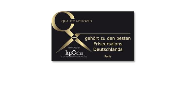 QUALITÄTSSIEGEL II, Kunde 'Klaus Peter Ochs', Frankfurt. Zur Auszeichnung von Friseursalons, deren Qualität mit diesem Siegel gewürdigt wird
