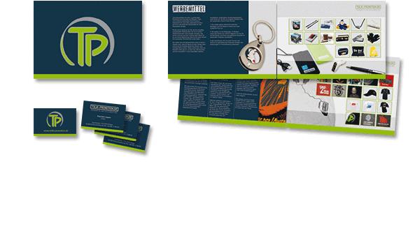 TOLIK WERBEMITTEL, Broschüre und Visitenkarten, Kunde Tolik Werbemittel, Rodgau. Inkl. Druckvorstufe. Broschüre im Format DIN A4 quer. Umfang 8 Seiten