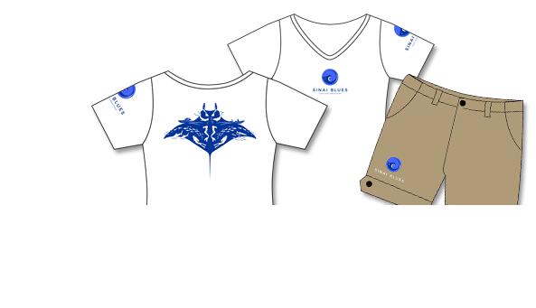 Kunde Sinai Blues Tauchcenter, Ägypten. Mitarbeiter-Ausstattung und Merchandising, Shirts/Shorts Damen mit Druck/Stick