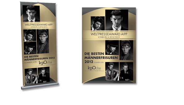WELTPRESSEAWARD, Banner und Plakat, für Kunde Klaus Peter Ochs, Frankfurt. RollUp Banner Format80 x 200cm und Plakat DIN A1 zur Präsentation in allen kpOchs Filialen