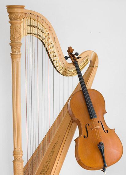 Harfe und Violoncello