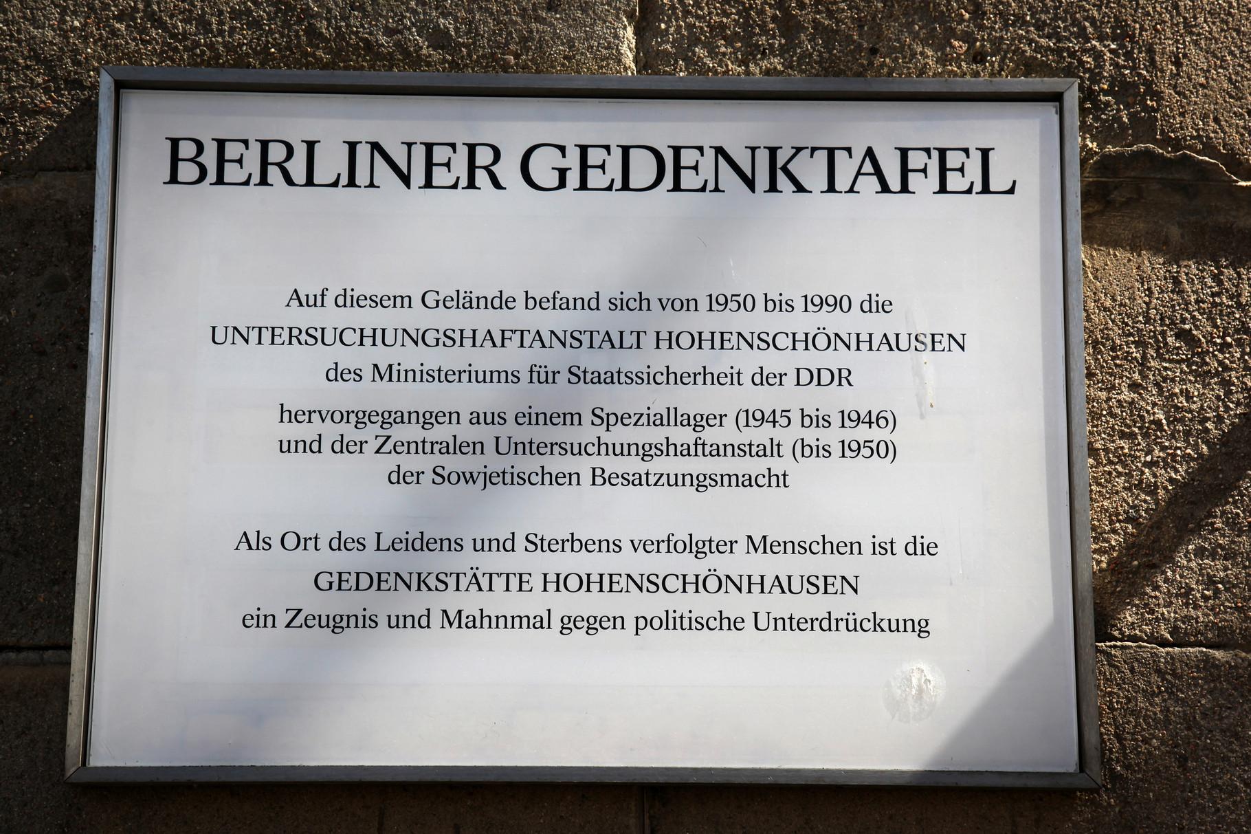Hinweistafel - Berlin-Hohenschönhausen