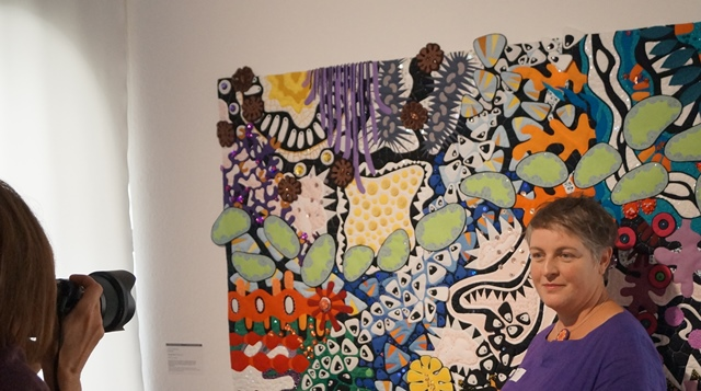 Foto des Quilts Topogravity in der Textilsammlung Max Berk