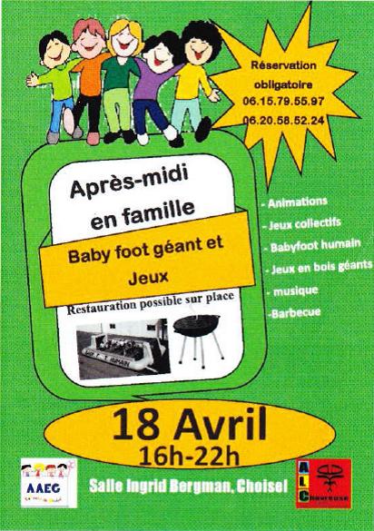 """Flyer pour l'après-midi """"Babbyfoot géant"""" (AAEC / MIC)"""